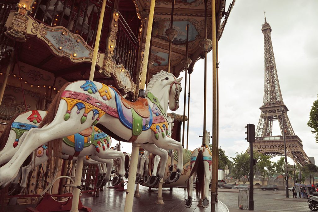 Carousel and Eiffel Tower in Paris, France